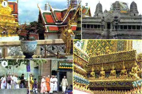 Население Евразии География Реферат доклад сообщение краткое  Рис 206 Буддийские храмы в Таиланде 1 3 Буддисты на улице азиатского города 4